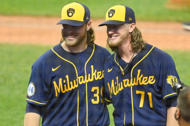 Milwaukee Brewers starting pitcher Corbin Burnes and relief pitcher Josh Hader pose for a picture after they threw a combined no-hitter in a 3-0 win against Cleveland at Progressive Field.