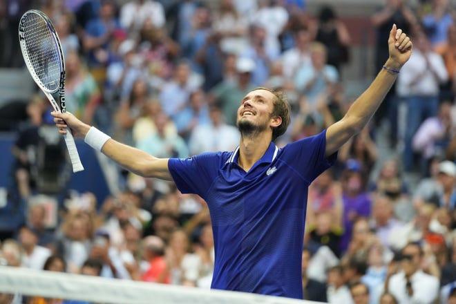 Daniil Medvedev celebrates after beating Novak Djokovic in the U.S. Open men's final.