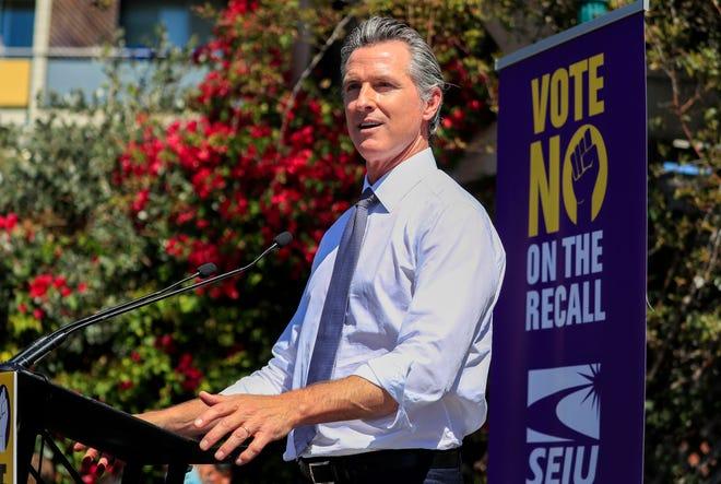 California Gov. Gavin Newsom at a rally in Oakland, Calif., on Sept. 11, 2021.