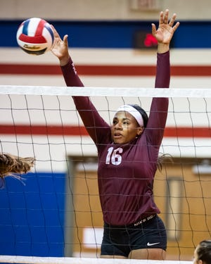 Round Rock's Briana Bailey had 18 kills and four blocks as the Dragons opened District 25-6A play with a four-set win over defending district champion Vandegrift.