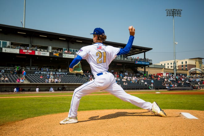 Amarillo Sod Poodles pitcher Ryne Nelson (21) pitches against the Tulsa Drillers on Sunday, Sept. 12, 2021, at HODGETOWN in Amarillo, Texas. [Photo by John Moore/Amarillo Sod Poodles]