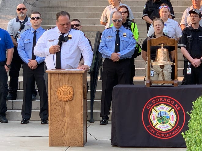 A historic day in El Dorado — remembering the 20th anniversary of the 9/11 attacks on the United States and celebrating the 150th anniversary of the founding of El Dorado — began with El Dorado Fire Captain Mike Rose sharing personal reflections from 9/11.