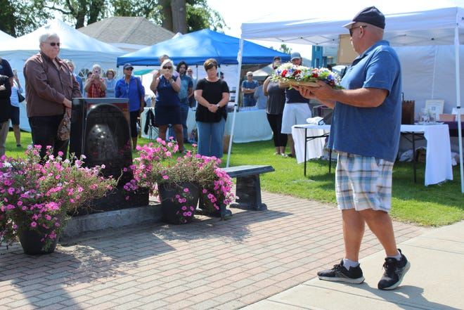 During the ceremony at Washington Park on Saturday, wreaths were laid at the memorial to honor the fallen firefighters from 9/11, as well as at the monument honoring Matthew Blaskowski, a soldier from Cheboygan who was killed in the ensuing war.
