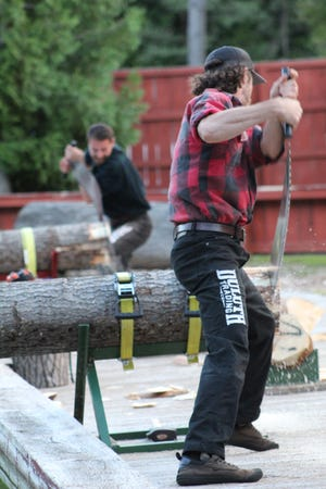 As part of the fundraiser, those in attendance were able to watch the lumberjacks who are part of the Jack Pine Lumberjack show compete against each other at the end of the night.
