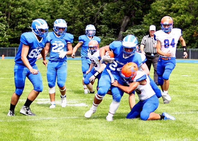 Sophomore running back Grant Blumke (24) had a monster day for the Inland Lakes football team last Saturday. Blumke carried 20 times for 227 yards and scored three touchdowns in an 86-66 victory over Central Lake.