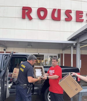 Rouses' St. Charles Street store in Houma provides free meals Sept. 1 to Houma Police after Hurricane Ida hit the area.