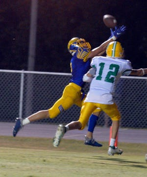 Southwestern Randolph's Adam Cole hauls in a 23-yard touchdown catch in Friday's game with West Davidson. [Mike Duprez/Courier-Tribune]