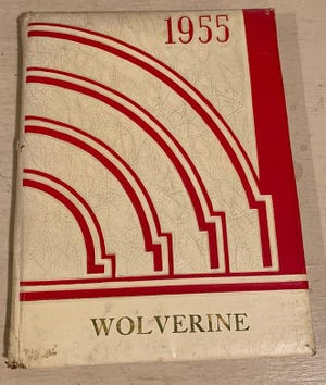 This 1955 Wolverine yearbook from Cement City High School is just one of the hundreds of high school and college yearbooks in the Lenawee Historical Society's collection. The collection is open to the public and provides an almost endless source of entertainment and memories. The collection is housed in the archives of the Lenawee Historical Museum in Adrian.