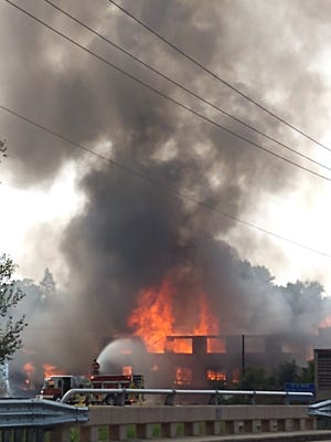 This image of Sunday's fire in Hudson was shared with The Daily Telegram by Mike Glisson. Authorities ruled Sunday's fire as a five-alarm fire, which destroyed a warehouse structure on Mechanic Street. The fire will remain under investigation.