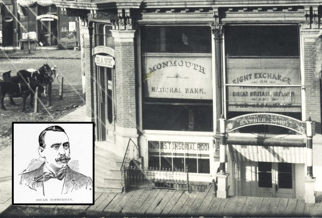 Oscar Zimmerman (inset) and his original basement barbershop, located beneath the old Monmouth National Bank.