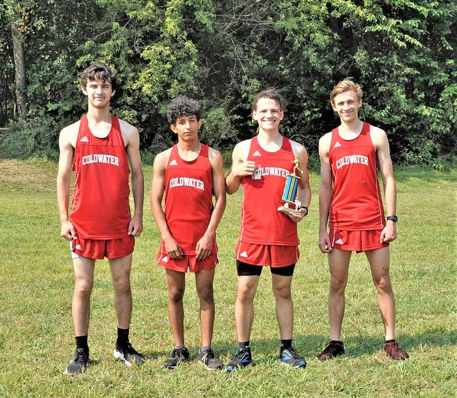 The Coldwater Cardinal 11th/12th grade boys XC team came home with a championship from Saturday's Centerville Invite