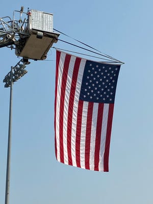 The American Flag at the Bob Reade Football Field at Geneseo High School where the Geneseo Firefighters Association held the 9/11 Memorial Stair Climb.