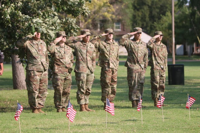 The Whitesell-Finnell VFW Ladies Auxiliary hosted a 9/11 memorial ceremony in Military Park on Sept. 11, 2001 that included members of the National Guard.
