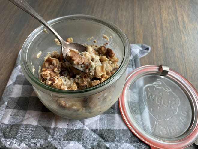 The concept for overnight oats is to place your oats, and other ingredients you might like, into a jar and cover with milk. Cover the jar and let set overnight in the fridge. The next morning, it's grab-n-go time.The oats get really creamy, and it's super quick and nutritious.