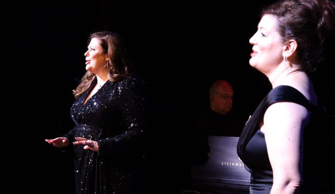 Brittney McLaughlin, left, Doug Hahn on piano, and Mary Jo Curry right, are part of a great cast of some of Springfield's favorite performers.