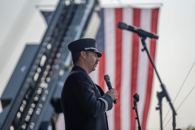Midlothian Fire Capt. Robert Altman speaks during a tribute to the victims of the Sept. 11, 2001 terror attacks at Midlothian's Heritage Day on Saturday.
