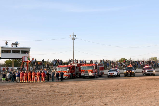 A 9/11 tribute was held before Saturday's races at Land of Legends Speedway in Canandaigua.