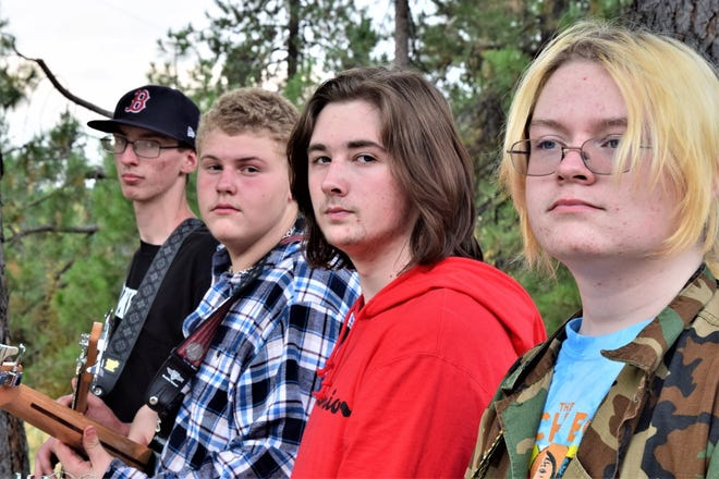 """McCloud High School students Hans Fox, Jaden Quiring, Seth Walton and Mason Ingram have been performing at festivals and events in McCloud. Their first album """"Jangle Pop"""" will be released on October 10th, 2021 at the McCloud Apple Harvest Festival and will be sold online."""