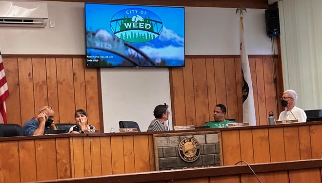 Weed City Council members before the meeting on Sept. 9, 2021. From left: Ken Palfini, Kim Greene, Susan Tavalero, Stacey Green and Bob Hall.