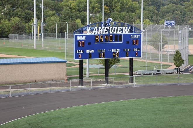 The scoreboard reflected the number of Parker Viaene's jersey during the game.