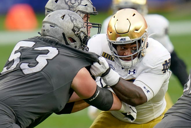 Notre Dame senior defensive lineman Jayson Ademilola has quietly had two solid games to start the 2021 season. The rest of the Irish cannot say the same.