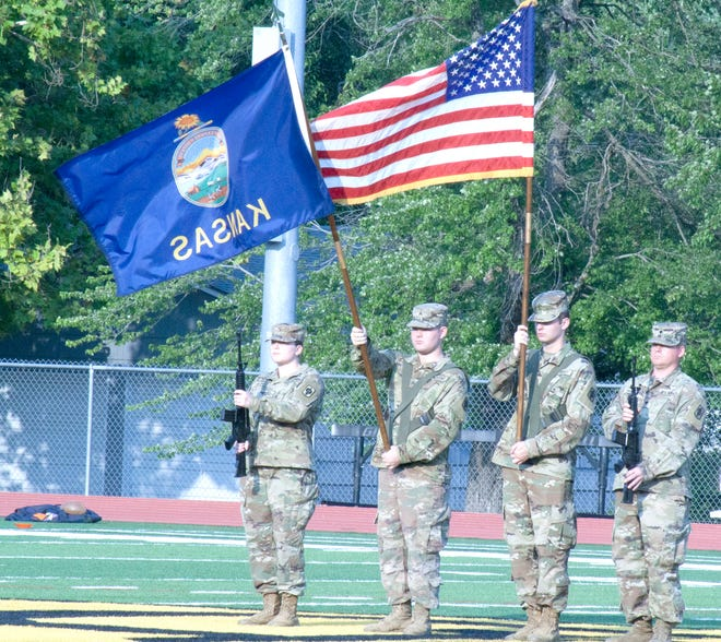 Army National Guard members presented the flags for the singing of The Star Spangled banner prior to Saturday's Ottawa University football game.