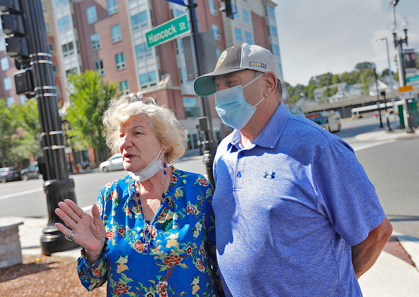 Jeannie Plonski and husband Tom Keeley talk about Quincy Center redevelopment.
