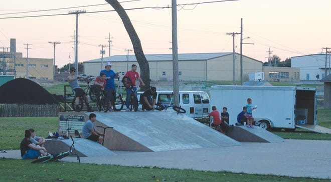 Bikers and skaters of all ages, plus an enthusiastic crowd of onlookers joined together for a community evening of fun last week at the Mitch Minnis park in Pratt.