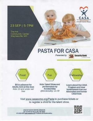 Pasta for CASA will be 5 p.m. to 7 p.m. Sept. 23 at The Ark Community Center, Waynesville.