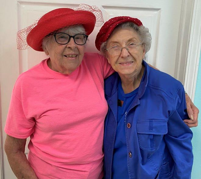 St. James Caring Center volunteers Midge and Maxine.