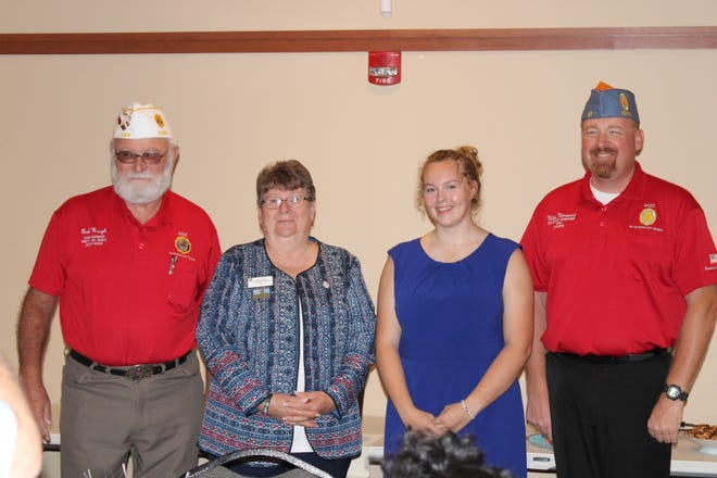 Story City resident and Unit #59 American Legion Auxiliary Junior member, Emma Schnurstein, attended a reception honoring her and three other leadership team members for the state of Iowa.It was held on Sunday, Sept. 12, at Van Meter Legion Post #403.Pictured from left to right are American Legion Department Commander Robert Waugh from Libertyville Post #494, American Legion Auxiliary Department President Doris Jackson from Lorimor Unit #96, American Legion Auxiliary Department Junior President Emma Schnurstein from Story City Unit #59, and Sons of the American Legion Detachment Commander Michael Monserud from Ames Post #37.These officers' terms will be from 2021-2022.
