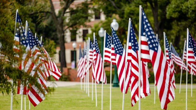 A field of U.S. flags is shown on the grounds of Tarleton State University in honor of the 20th anniversary of the Sept. 11, 2001, terror attacks on the U.S.