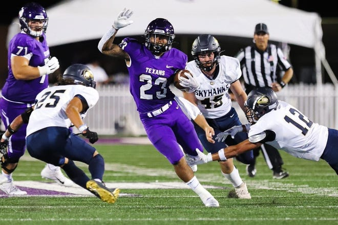 Junior running back Daniel Wright Jr. (No. 23)led the Texans with 119 yards on 15 carries during Saturday's 54-7 win over the Fort Lewis Skyhawks.