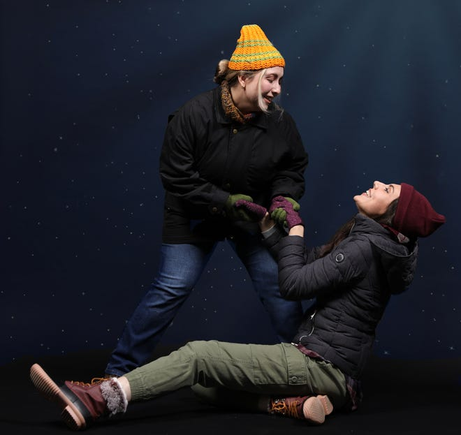 """Kari Solum, left, and Stacy Gilson, play mulitple roles in John Cariani's """"Almost, Maine"""" at Venice Theatre."""