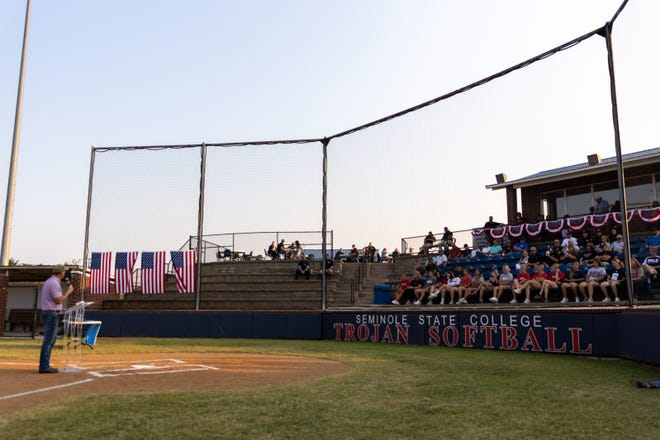 Governor Stitt makes comments from Home Plate of the Trojan Softball Field during the Patriot's Day event at SSC.