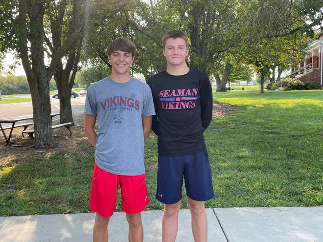 From left, brothers Jace and Branen Moore are two pieces to the puzzle this year for the Seaman boys cross country team.