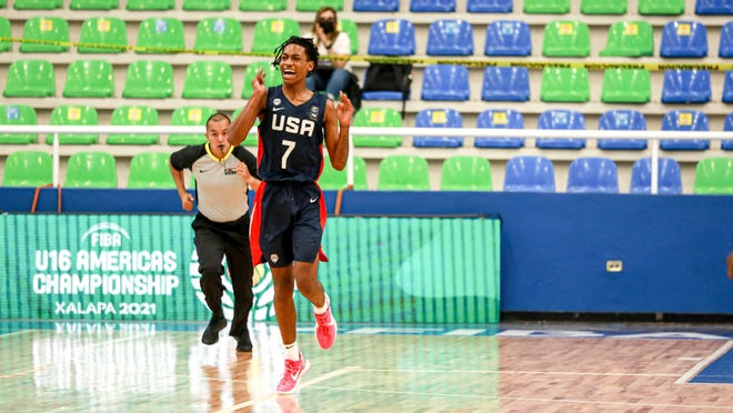 Five-star 2023 Combine Academy point guard and top UNC basketball target Robert Dillingham (7) helped the 2021 USA Basketball U16 National Team win a gold medal at the FIBA Americas U16 Championship last month in Mexico. Dillingham, 16, averaged 15.7 points, 6.2 assists and 3.2 steals per game and set a USA U16 record with 31 points in a title game win over Argentina.