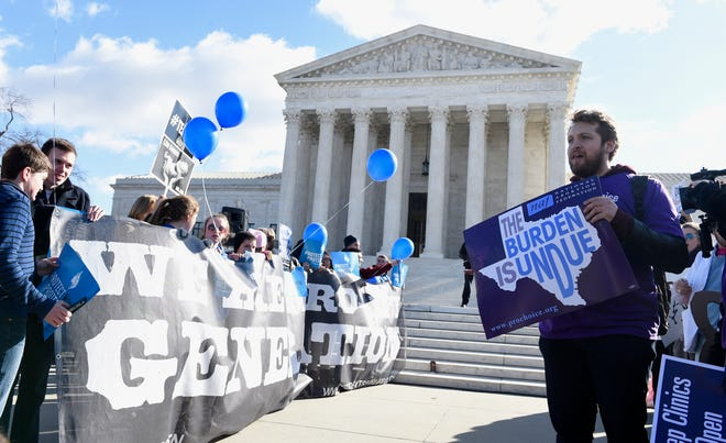 Protestors both opposed to abortion and in support of abortion rights rally outside the U.S. Supreme Court in Washington in 2016.