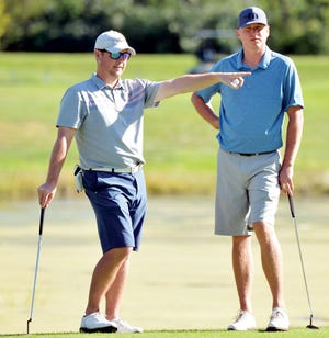 Charlie Jacobson of Sioux Falls (left), a 1998 Watertown High School graduate, and Brad Jacobson of Bryant are pictured while winning the South Dakota Golf Association's Mid-Am Two-Man Championship in 2016 at Cattail Crossing in Watertown. The Jacobsons won the tourney again this weekend in Sioux Falls, shooting a 13-under 129 (68-61) to win by one shot.