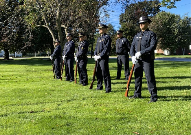 Billerica Police Department Honor Guard members stand on Billerica Town Common during the 20th anniversary on Sept. 11, 2001.