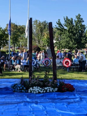 A memorial to the Burlington residents who died in the terrorist attacks of Sept. 11, 2001 was dedicated Saturday, Sept. 11, 2021.