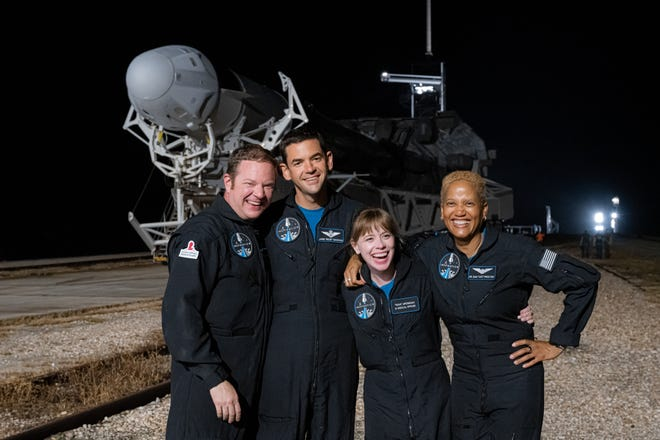 The Inspiration4 crew Saturday during the rollout of their Falcon 9 rocket to Launch Complex39A at the Kennedy Space Center. From left: Chris Sembroski, Jared Isaacman, Hayley Arceneaux and Sian Proctor.