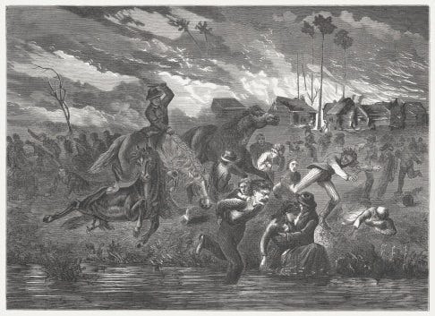 A wood engraving made in 1872 of the Peshtigo Fire of Oct. 8, 1871, which also devastatingly affected Door County's Belgian settlement. The Belgian Heritage Center in Brussels, Wisconsin is holding a remembrance with three days of programs starting on the 150th anniversary of the fire.