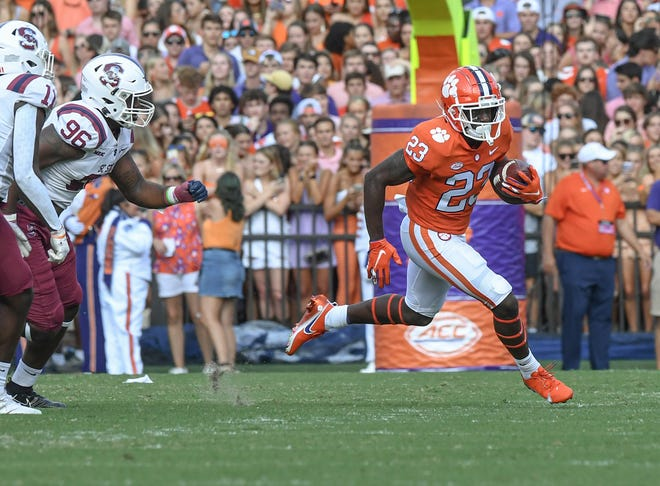 Clemson running back Lyn-J Dixon on one of his four carries against South Carolina State.