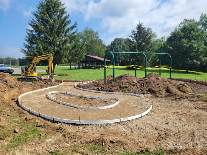 The new natural play area being created at Infirmary Mound Park is inspired by Granville's Effigy Mound.