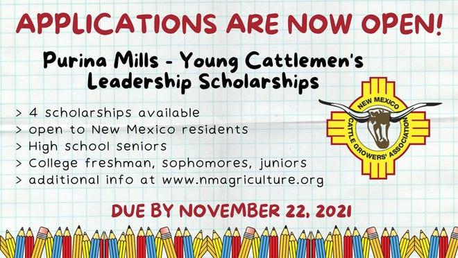 Purina Mills Young Cattlemen's Leadership Scholarship deadline due Nov. 22, 2021.