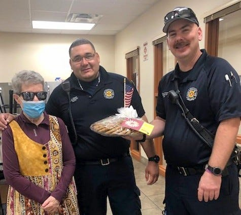 The Philanthropic Educational Organization (P.E.O., Chapter BT, recently donated cookie trays from Alma's Mexican Kitchen to local law enforcement, first responders and veterans from Deming and Luna County in memory of the events of September 11, 2001. This was the chapter's way to show appreciation forthose groups and all they do to help keep our community safe.