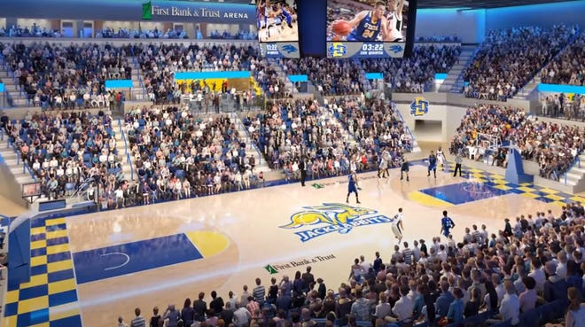 A rendering from EAPC shows what the First Bank & Trust Arena, formerly known as Frost Arena in Brookings, will look like after a $50 million renovation.