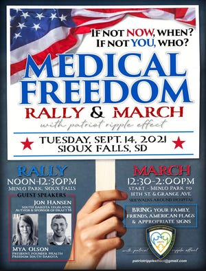 Patriot Ripple Effect flyer for Medical Freedom Rally & March scheduled for Tuesday, September 14, 2021.