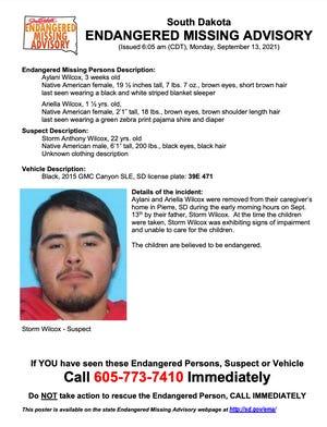 South Dakota Endangered Missing Advisory poster from Monday, September 13, 2021
